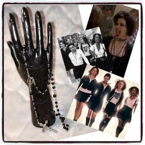 Gothic 90s Black Rosary Beads Vintage Goth Punk